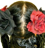 Black & Wine Red Rose Hair Flowers