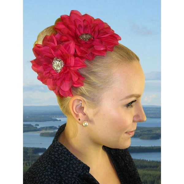 Pink Passion 2 Hair Flowers