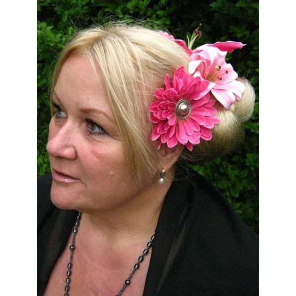 Pinke Button Haarblüte 2 x