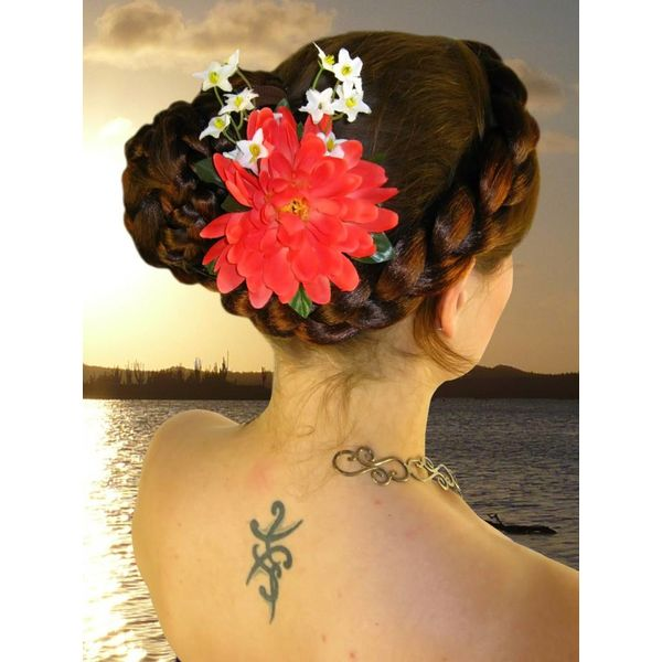 Coral Fairy Hair Flower 2 x
