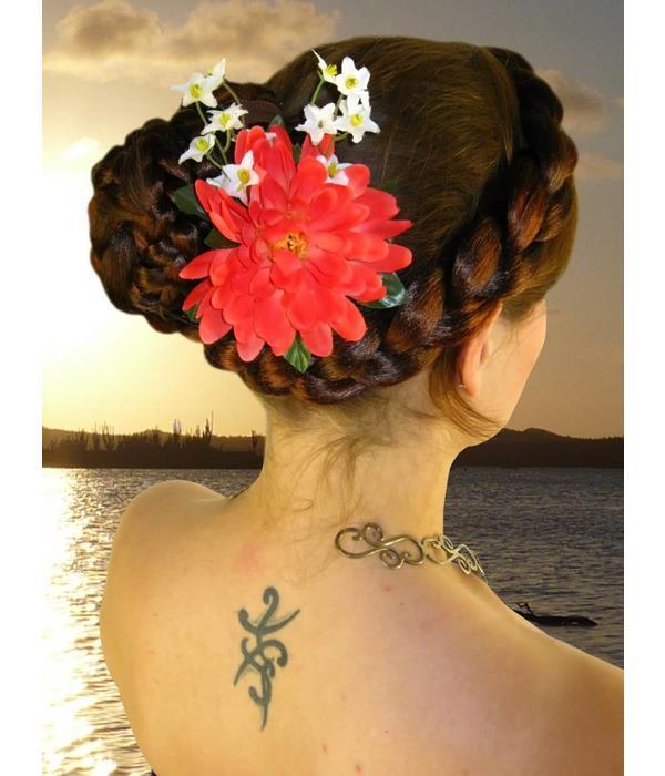 Coral Fairy Hair Flower 2 x