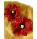 Goth Skull Cameo Hair Flowers 2 x