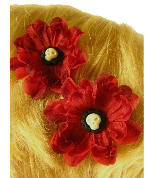 Gothic Skull Haarblüten 2 x
