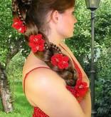 Rote Bollywood Haarblüten