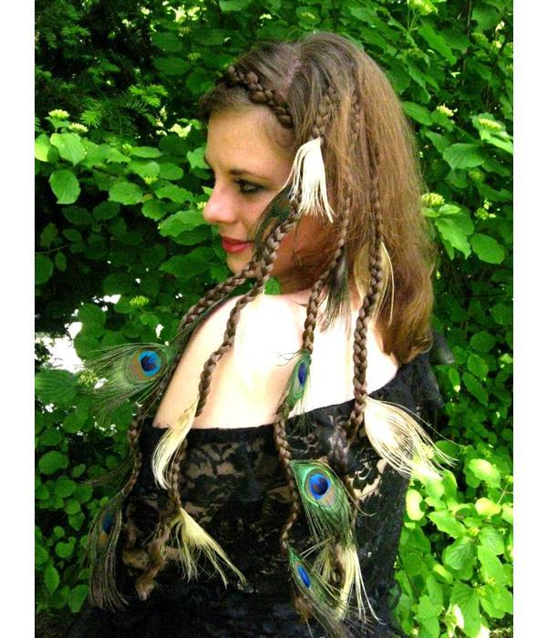 Peacock Feather Hair Pieces, Set Fair & Natural