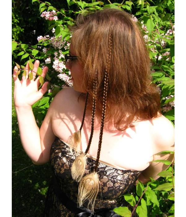 Fair Triple Peacock Feather Hair Piece