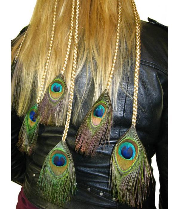 Peacock Feather Hair Piece XL Set