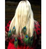 Pfauenfeder Haarteile L Set