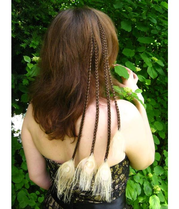 Quadruple Peacock Hair Piece - fair feathers
