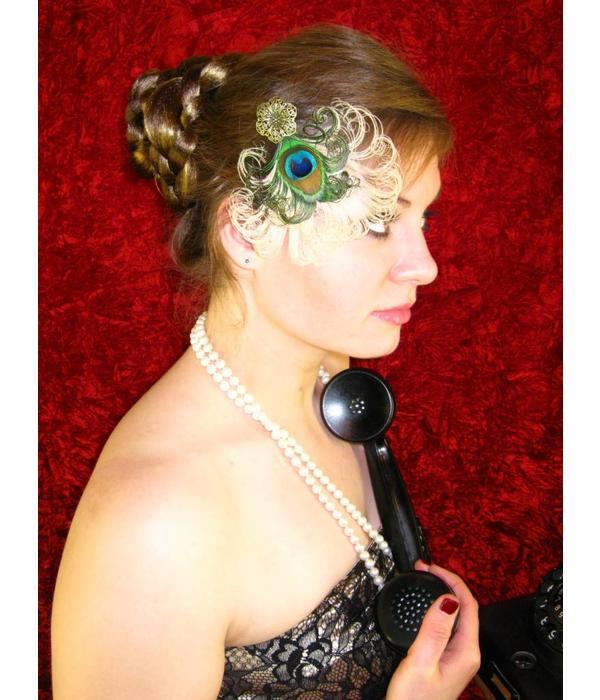 Peacock Heart Fascinator - antique brass deco