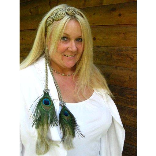 Boho Silver Peacock Hair Piece