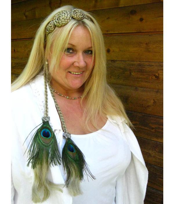 Boho Silver Peacock Feather Hair Piece