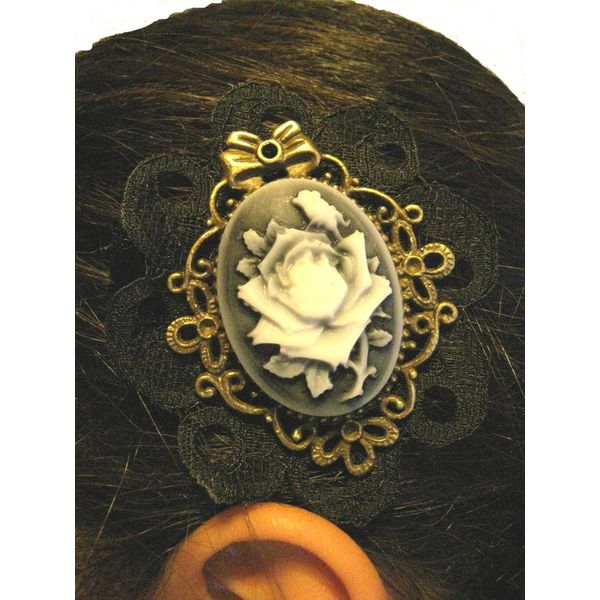 Steampunk Rose Cameo Clip