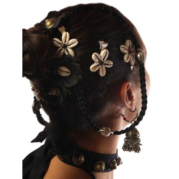 Cowry Hair Flowers, black