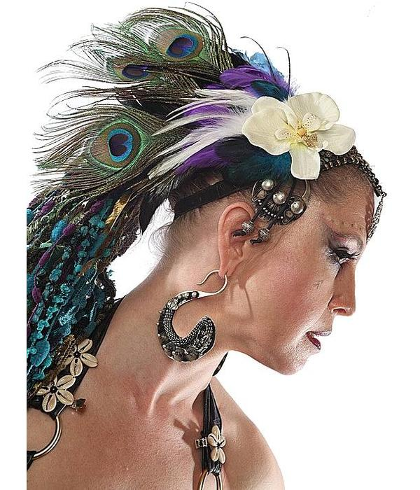 Cowry Hair Flowers, black beads