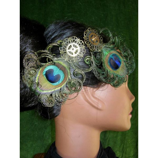 2 x Steampunk Pfau Fascinator
