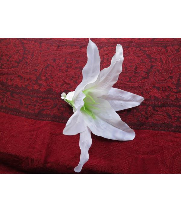 White Aloha Lily Hair Flower 2 x