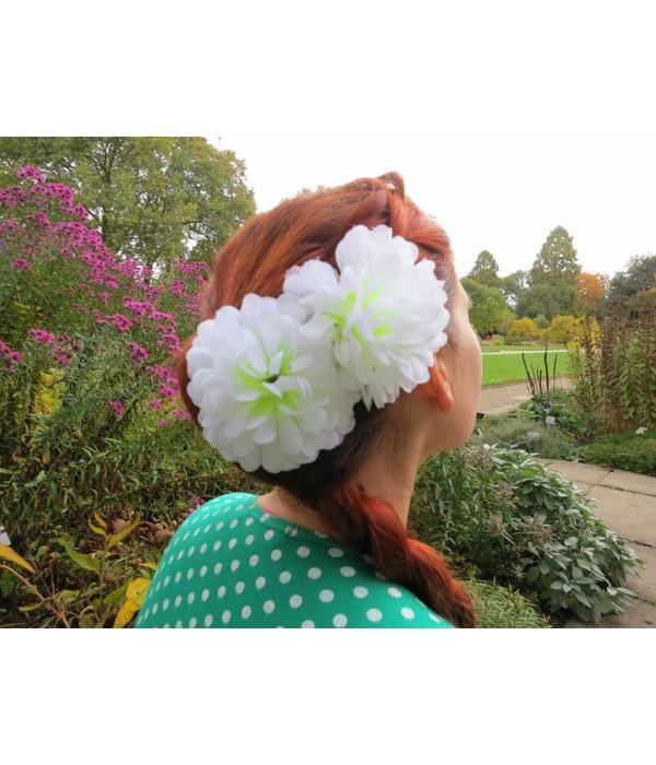 White Chrysanthemum Hair Flower 2 x