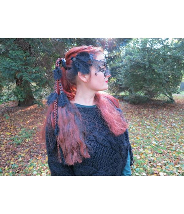 Goth Ostrich Feather Hair Clip Flora