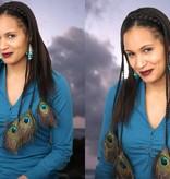 Pfauenfeder Extensions M Set - Haarfarbe 3