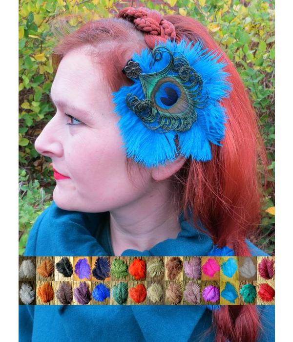 Ostrich & Peacock Feather Hair Clip Flora