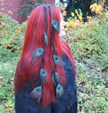 Black Goth Peacock Feather Extensions, 9 Feathers