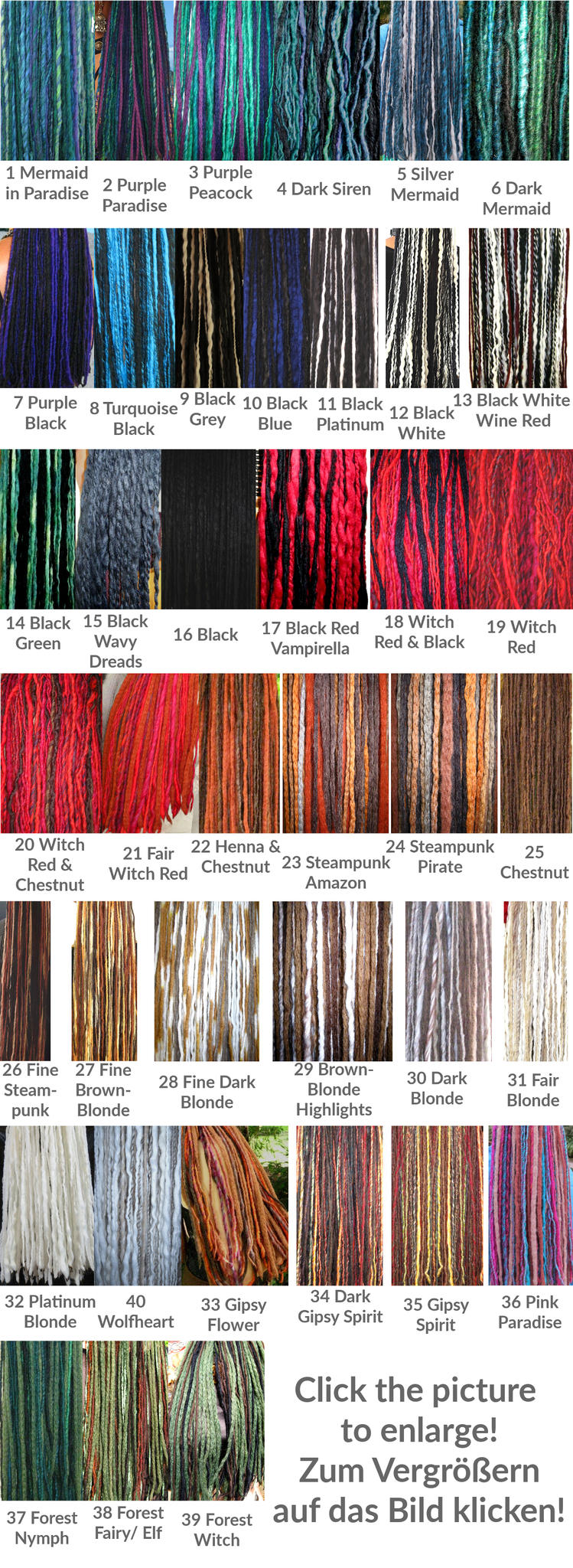 Special dreadlocks for 2 inches 5 cm short hair in many colors click here if you need a larger resolution of the color charts below nvjuhfo Images