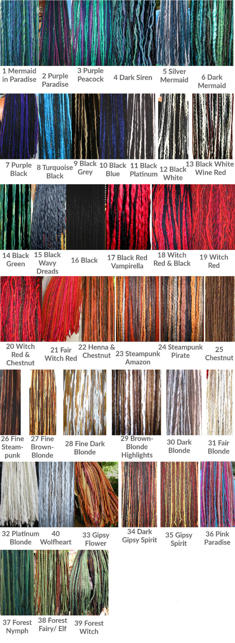 color charts for clip-in dreadlocks