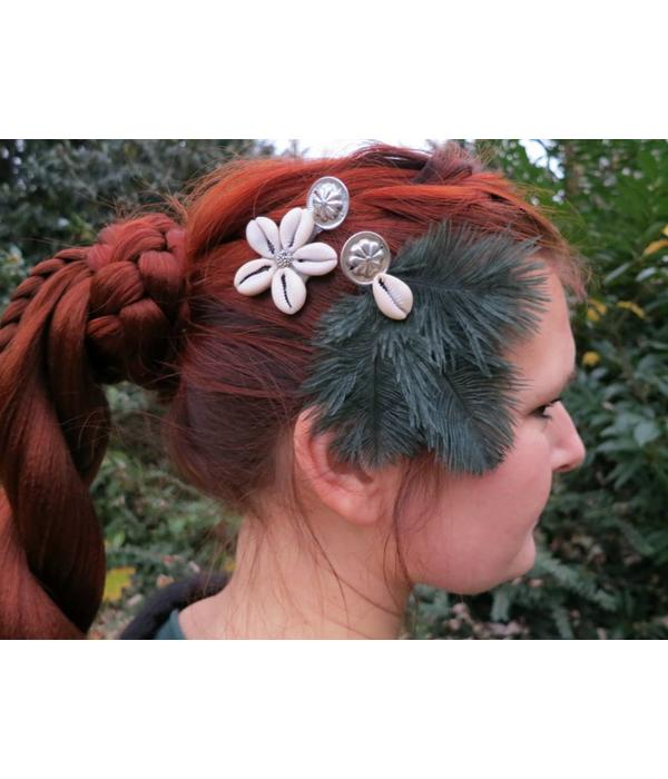 Cowry Ostrich Feather Hair Clip
