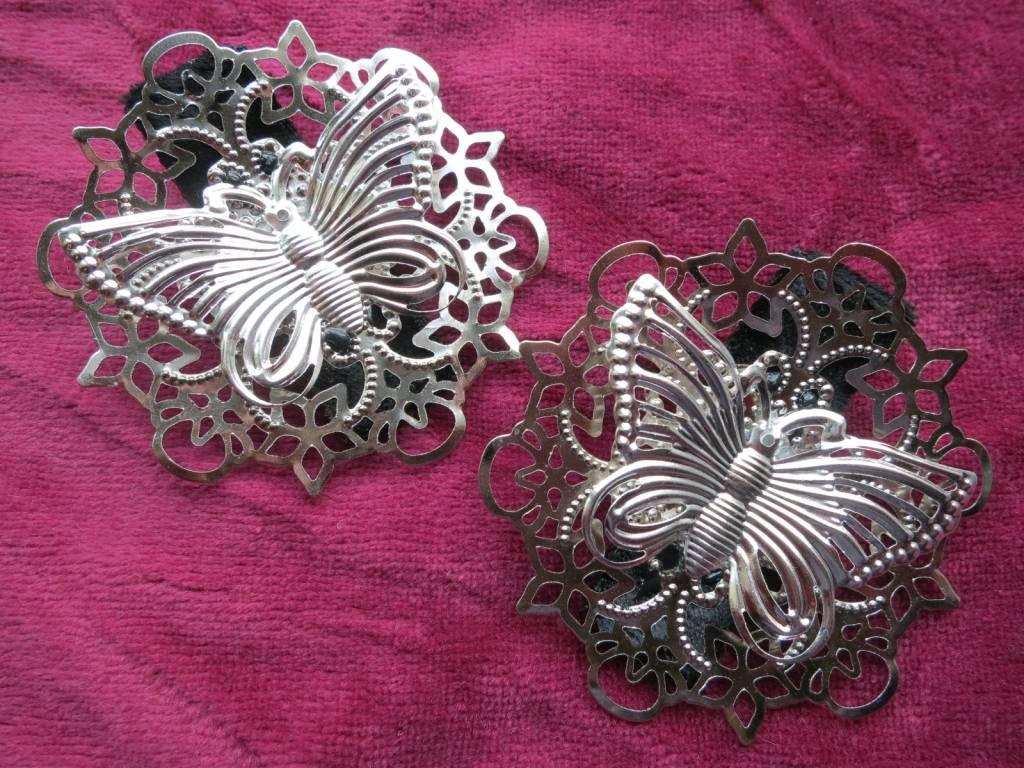 Shoe ornament clips -  Butterfly Ornament Hair Shoe Clip Silver
