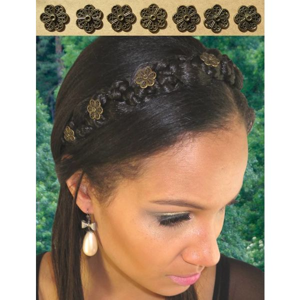 Flower Decoration for braid headband, bronze