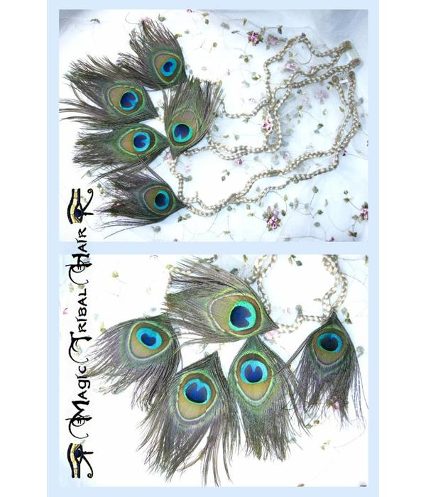 Peacock Feather Hair Pieces M Set