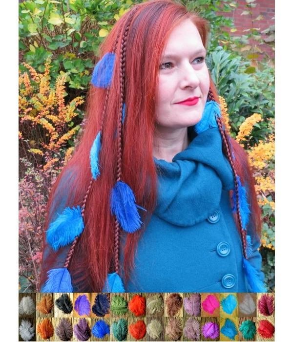 Feather Hair Extensions And Hair Jewelry With Ostrich Plumes And In