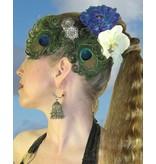 Pfauenfeder Haarschmuck Silberblume