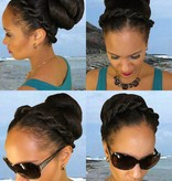 Braided Hair Bun L size, crimped hair