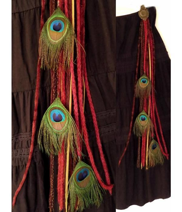 Wine Red Steampunk Peacock yarn falls