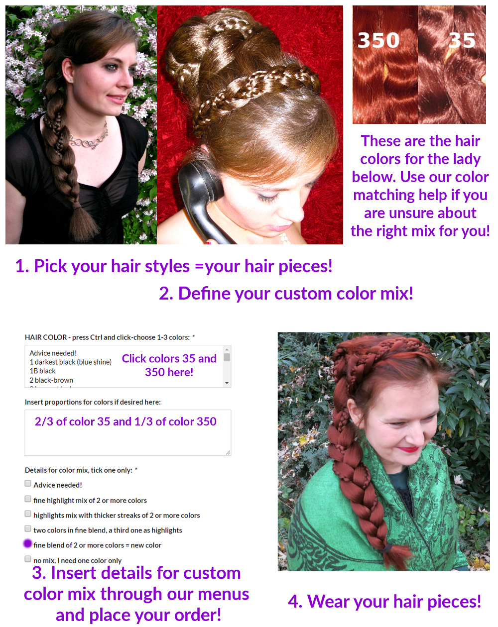 How to order custom color hair pieces - picture instructions!