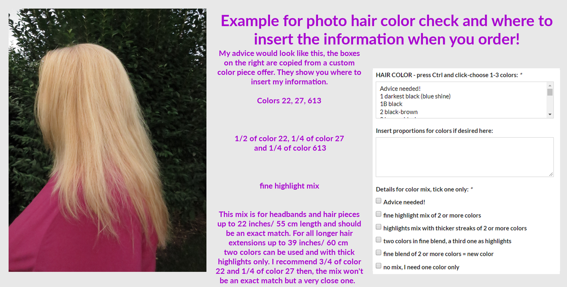 Example for picture hair color check and how to order!