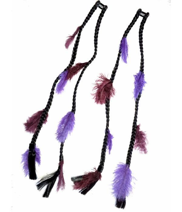2x Purple Passion Feather Extensions - Color 1 black
