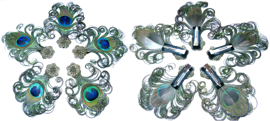 Professional clip attachment for all hair jewelry by Magic Tribal Hair, shown with peacock feather fascinators here.