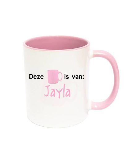 Mok met naam (roze)