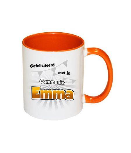 Communie cadeau met naam (oranje)