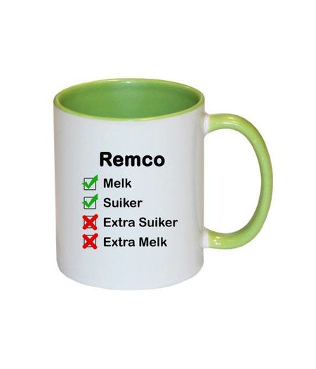 Mok met naam checklist (groen)