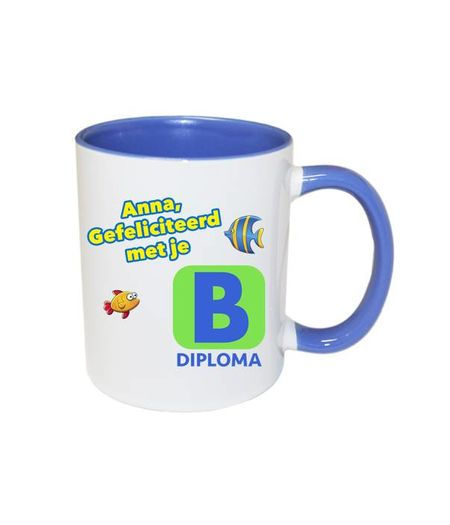 Zwemdiploma B mok met naam (blauw)