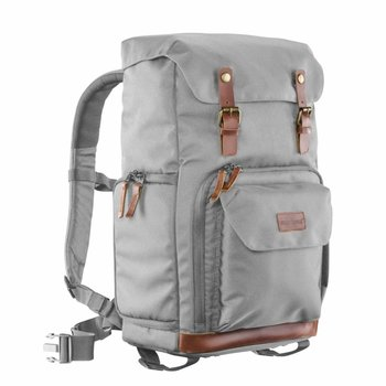 mantona photo backpack Luis grey, retro