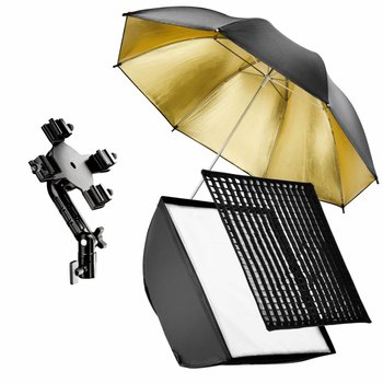 walimex Set 4 Flash Holder, SB 60, Umbrella gold