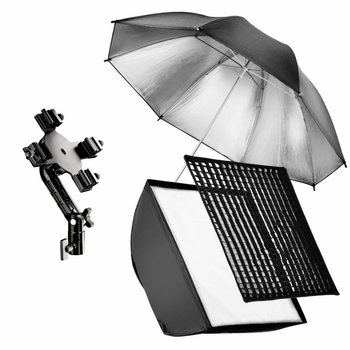 walimex Set 4 Flash Holder, SB 60, Umbrella silber