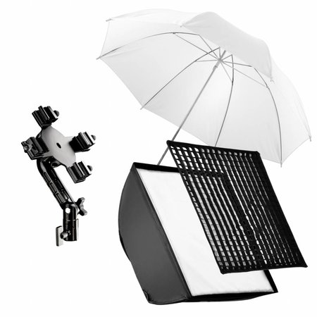 walimex Quad Flitshouder/Softbox Set 4 Transparant wit