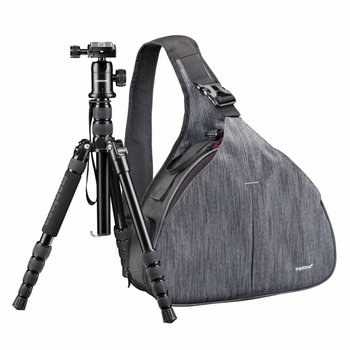 mantona Camera Bag triangle grey + DSLM tripod