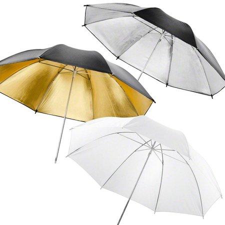walimex Doorschijnende Light Paraplu's, 84cm Set van 3